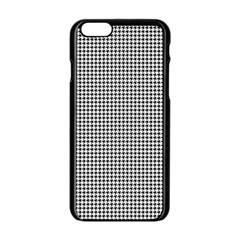 Classic Vintage Black And White Houndstooth Pattern Apple Iphone 6/6s Black Enamel Case by Beachlux