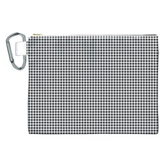 Classic Vintage Black And White Houndstooth Pattern Canvas Cosmetic Bag (xxl) by Beachlux