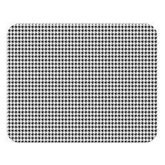 Classic Vintage Black And White Houndstooth Pattern Double Sided Flano Blanket (large) by Beachlux