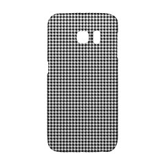 Classic Vintage Black And White Houndstooth Pattern Samsung Galaxy S6 Edge Hardshell Case by Beachlux