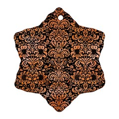 Damask2 Black Marble & Orange Watercolor (r) Snowflake Ornament (two Sides) by trendistuff