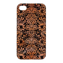 Damask2 Black Marble & Orange Watercolor (r) Apple Iphone 4/4s Hardshell Case by trendistuff