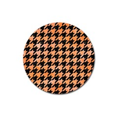 Houndstooth1 Black Marble & Orange Watercolor Magnet 3  (round) by trendistuff