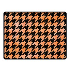 Houndstooth1 Black Marble & Orange Watercolor Double Sided Fleece Blanket (small)  by trendistuff