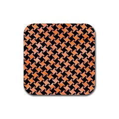 Houndstooth2 Black Marble & Orange Watercolor Rubber Square Coaster (4 Pack)  by trendistuff