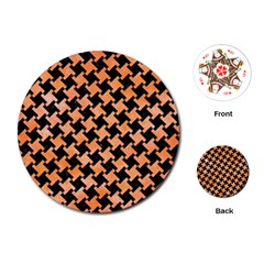 Houndstooth2 Black Marble & Orange Watercolor Playing Cards (round)  by trendistuff