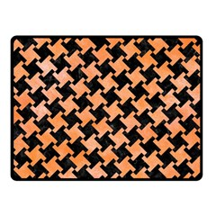 Houndstooth2 Black Marble & Orange Watercolor Fleece Blanket (small) by trendistuff