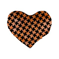 Houndstooth2 Black Marble & Orange Watercolor Standard 16  Premium Heart Shape Cushions by trendistuff
