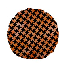Houndstooth2 Black Marble & Orange Watercolor Standard 15  Premium Flano Round Cushions by trendistuff