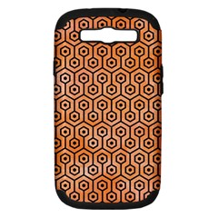 Hexagon1 Black Marble & Orange Watercolor Samsung Galaxy S Iii Hardshell Case (pc+silicone) by trendistuff