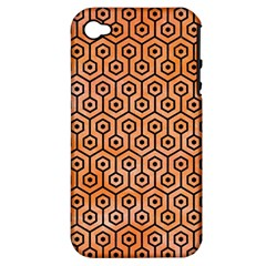 Hexagon1 Black Marble & Orange Watercolor Apple Iphone 4/4s Hardshell Case (pc+silicone) by trendistuff