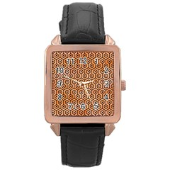 Hexagon1 Black Marble & Orange Watercolor Rose Gold Leather Watch  by trendistuff
