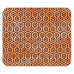 Hexagon1 Black Marble & Orange Watercolor Double Sided Flano Blanket (small)  by trendistuff
