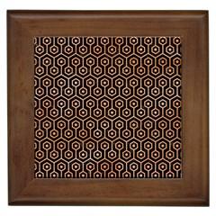 Hexagon1 Black Marble & Orange Watercolor (r) Framed Tiles by trendistuff