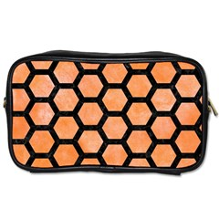 Hexagon2 Black Marble & Orange Watercolor Toiletries Bags 2 Side by trendistuff