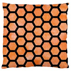 Hexagon2 Black Marble & Orange Watercolor Standard Flano Cushion Case (one Side) by trendistuff