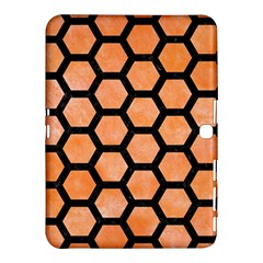 Hexagon2 Black Marble & Orange Watercolor Samsung Galaxy Tab 4 (10 1 ) Hardshell Case  by trendistuff