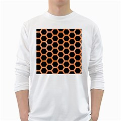 Hexagon2 Black Marble & Orange Watercolor (r) White Long Sleeve T Shirts by trendistuff