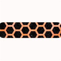 Hexagon2 Black Marble & Orange Watercolor (r) Large Bar Mats by trendistuff