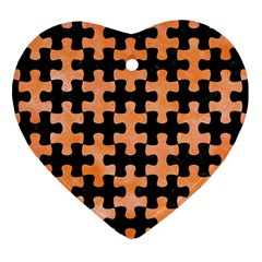 Puzzle1 Black Marble & Orange Watercolor Heart Ornament (two Sides)