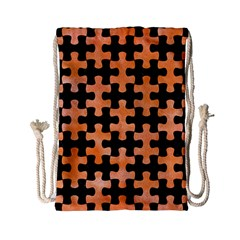 Puzzle1 Black Marble & Orange Watercolor Drawstring Bag (small) by trendistuff
