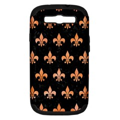Royal1 Black Marble & Orange Watercolor Samsung Galaxy S Iii Hardshell Case (pc+silicone) by trendistuff
