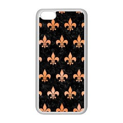 Royal1 Black Marble & Orange Watercolor Apple Iphone 5c Seamless Case (white)