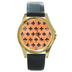 Royal1 Black Marble & Orange Watercolor (r) Round Gold Metal Watch by trendistuff