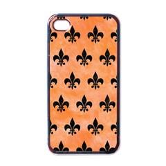 Royal1 Black Marble & Orange Watercolor (r) Apple Iphone 4 Case (black) by trendistuff