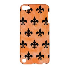 Royal1 Black Marble & Orange Watercolor (r) Apple Ipod Touch 5 Hardshell Case by trendistuff