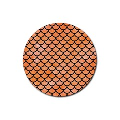 Scales1 Black Marble & Orange Watercolor Rubber Round Coaster (4 Pack)  by trendistuff