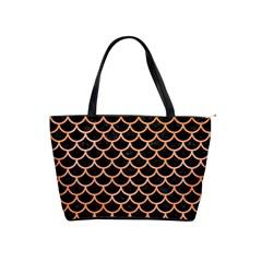 Scales1 Black Marble & Orange Watercolor (r) Shoulder Handbags by trendistuff