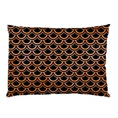 Scales2 Black Marble & Orange Watercolor (r) Pillow Case by trendistuff