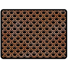 Scales2 Black Marble & Orange Watercolor (r) Fleece Blanket (large)  by trendistuff