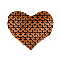 Scales3 Black Marble & Orange Watercolor Standard 16  Premium Heart Shape Cushions by trendistuff