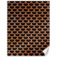 Scales3 Black Marble & Orange Watercolor (r) Canvas 12  X 16   by trendistuff