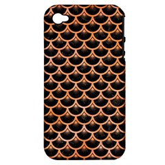 Scales3 Black Marble & Orange Watercolor (r) Apple Iphone 4/4s Hardshell Case (pc+silicone) by trendistuff