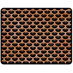 Scales3 Black Marble & Orange Watercolor (r) Double Sided Fleece Blanket (medium)  by trendistuff