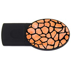 Skin1 Black Marble & Orange Watercolor (r) Usb Flash Drive Oval (4 Gb) by trendistuff