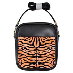 Skin2 Black Marble & Orange Watercolor Girls Sling Bags