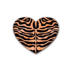 Skin2 Black Marble & Orange Watercolor (r) Heart Coaster (4 Pack)  by trendistuff