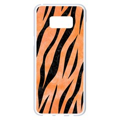 Skin3 Black Marble & Orange Watercolor Samsung Galaxy S8 Plus White Seamless Case by trendistuff