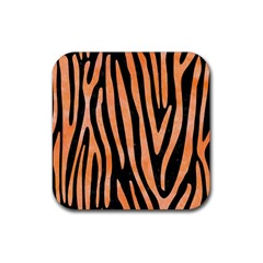 Skin4 Black Marble & Orange Watercolor Rubber Square Coaster (4 Pack)  by trendistuff