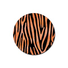 Skin4 Black Marble & Orange Watercolor Rubber Coaster (round)  by trendistuff