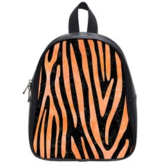Skin4 Black Marble & Orange Watercolor School Bag (small) by trendistuff