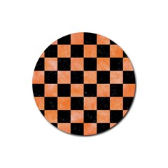 Square1 Black Marble & Orange Watercolor Rubber Round Coaster (4 Pack)  by trendistuff