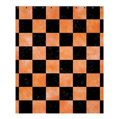 Square1 Black Marble & Orange Watercolor Shower Curtain 60  X 72  (medium)  by trendistuff
