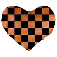 Square1 Black Marble & Orange Watercolor Large 19  Premium Heart Shape Cushions by trendistuff