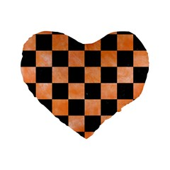 Square1 Black Marble & Orange Watercolor Standard 16  Premium Flano Heart Shape Cushions by trendistuff