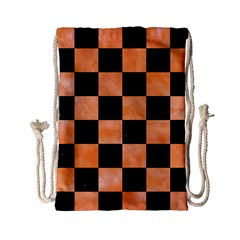 Square1 Black Marble & Orange Watercolor Drawstring Bag (small) by trendistuff